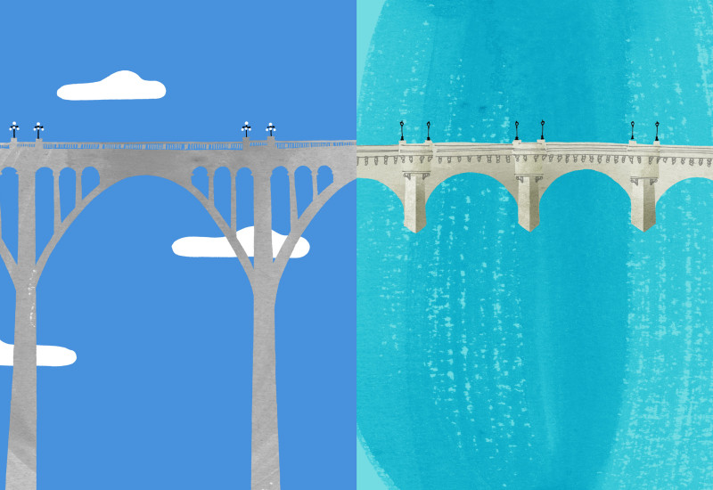 Bridges - Colorado Street Bridge vis-a-vis Pont Neuf (New Bridge)