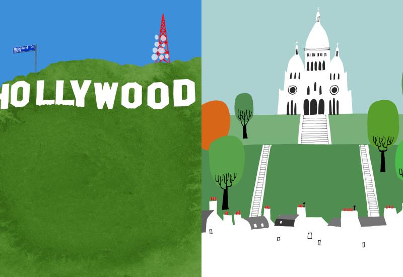 Religion - Hollywood Sign vis-a-vis Sacred Coeur