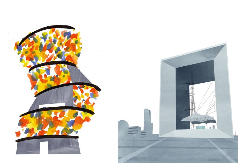 Beacons - Samitaur Tower vis-a-vis Grande Arche de la Defense