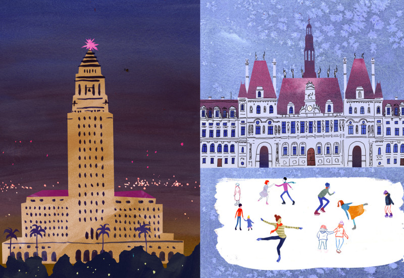 City Halls - L.A. City Hall vis-a-vis Hotel de Ville
