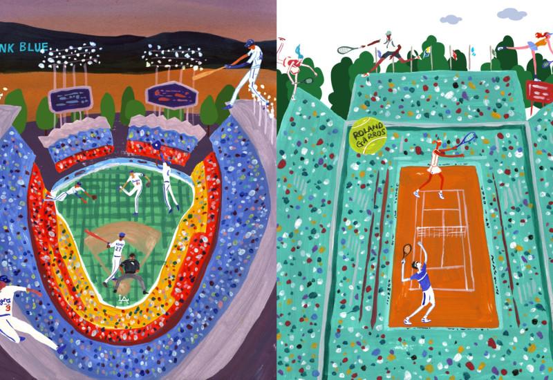 Spectators - Dodger Stadium vis-a-vis Roland Garros