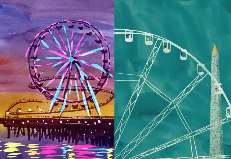 Ferris Wheels - Santa Monica Ferris Wheel vis-a-vis La grande Roue de Concorde